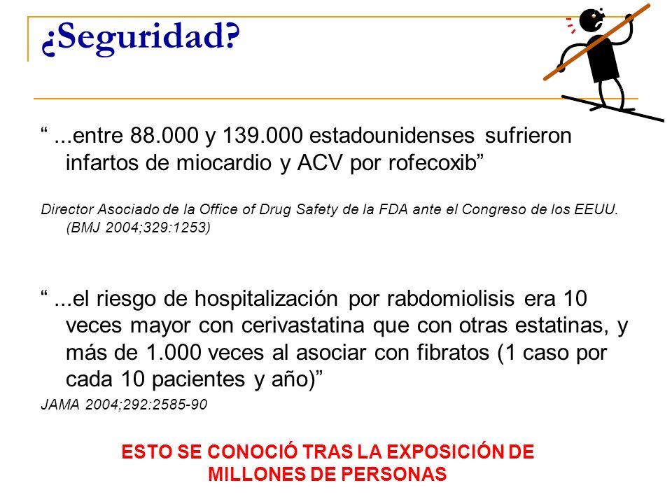 ¿Seguridad?...entre 88.000 y 139.000 estadounidenses sufrieron infartos de miocardio y ACV por rofecoxib Director Asociado de la Office of Drug Safety