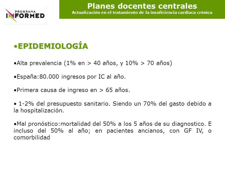 Planes docentes centrales Actualización en el tratamiento de la insuficiencia cardiaca crónica EPIDEMIOLOGÍAEPIDEMIOLOGÍA Alta prevalencia (1% en > 40