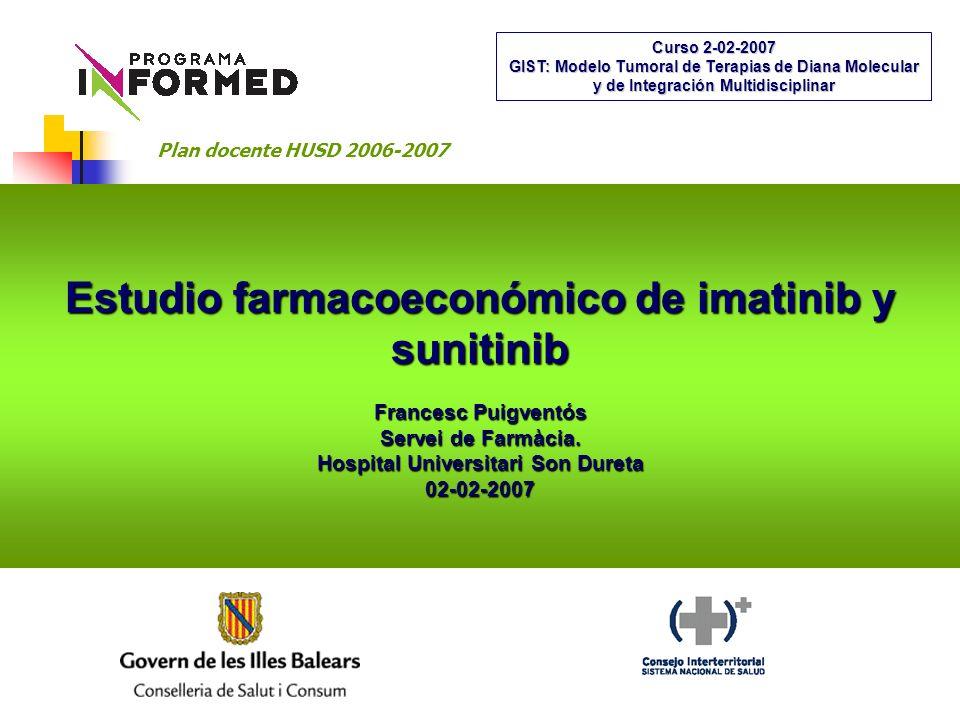 Estudio farmacoeconómico de imatinib y sunitinib Francesc Puigventós Servei de Farmàcia.