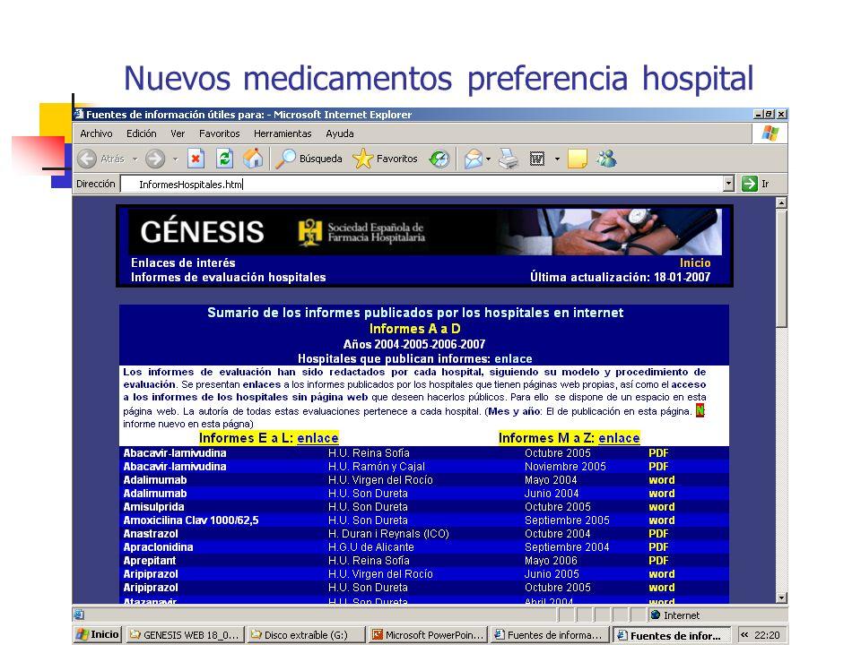 Nuevos medicamentos preferencia hospital