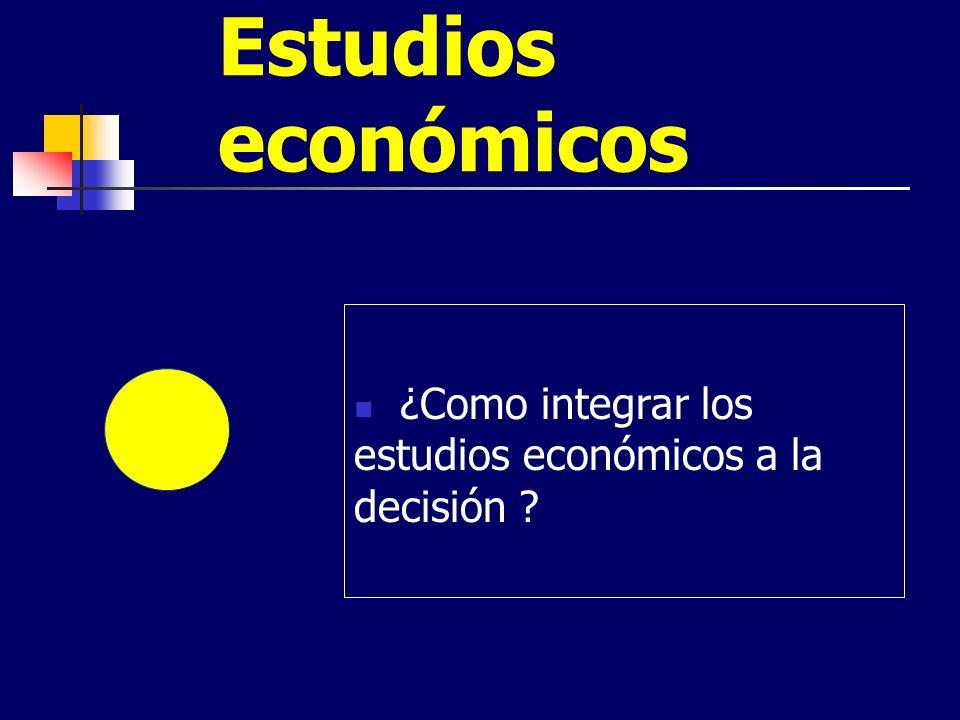 Estudios económicos ¿Como integrar los estudios económicos a la decisión