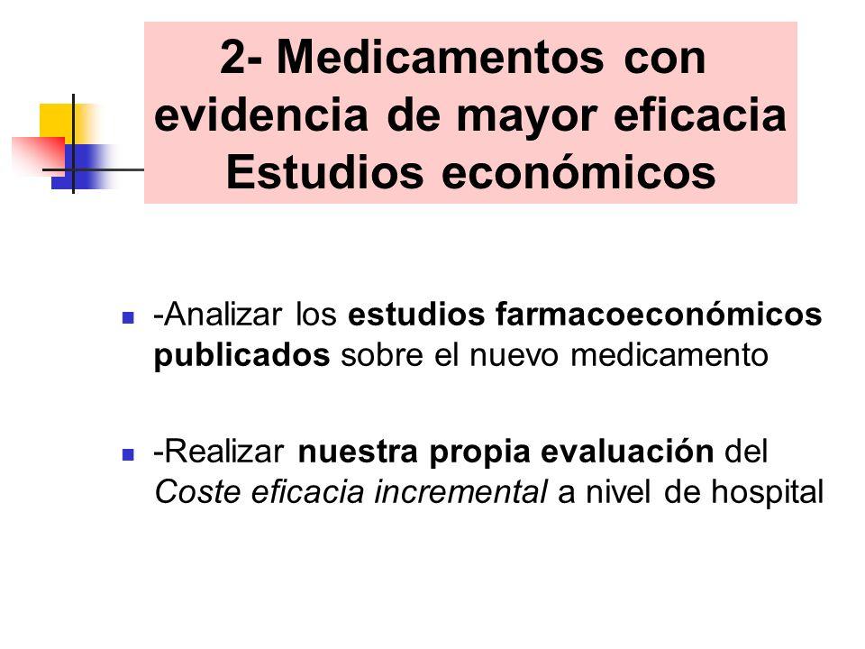 -Analizar los estudios farmacoeconómicos publicados sobre el nuevo medicamento -Realizar nuestra propia evaluación del Coste eficacia incremental a nivel de hospital 2- Medicamentos con evidencia de mayor eficacia Estudios económicos