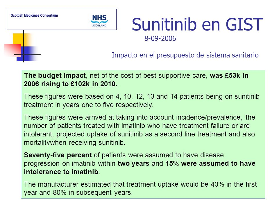 Sunitinib en GIST 8-09-2006 Impacto en el presupuesto de sistema sanitario The budget impact, net of the cost of best supportive care, was £53k in 200