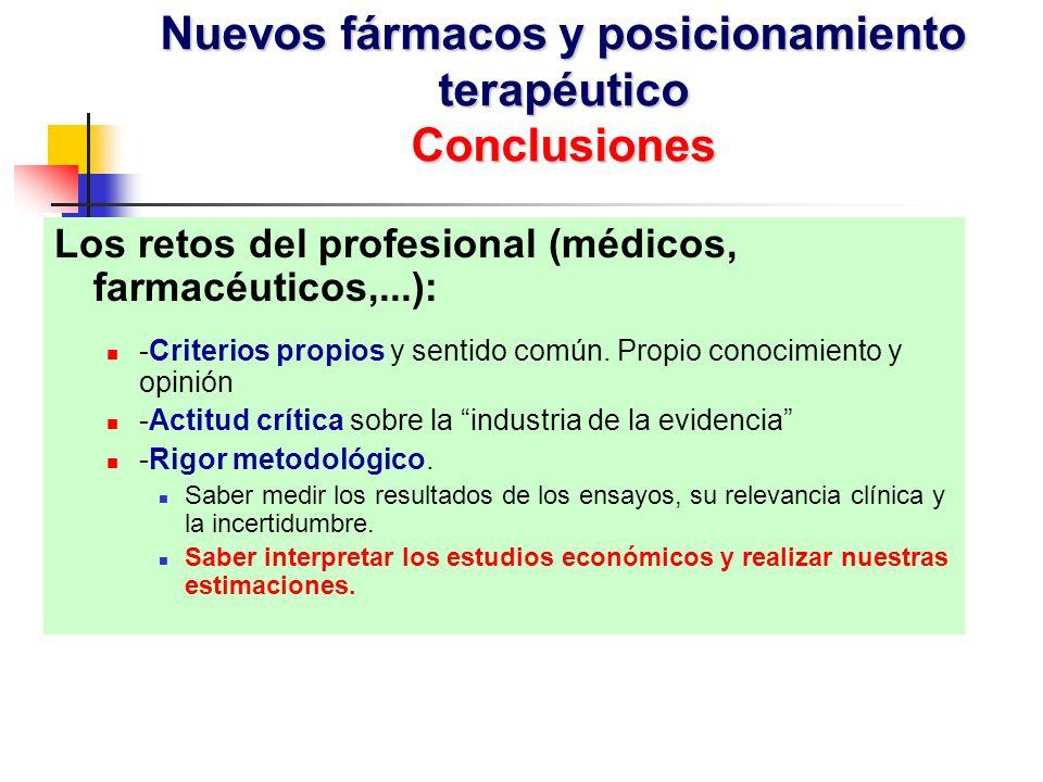 Los retos del profesional (médicos, farmacéuticos,...): -Criterios propios y sentido común.