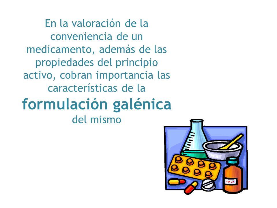 En la valoración de la conveniencia de un medicamento, además de las propiedades del principio activo, cobran importancia las características de la fo