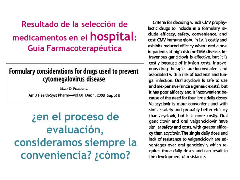 Resultado de la selección de medicamentos en el hospital : Guía Farmacoterapéutica ¿en el proceso de evaluación, consideramos siempre la conveniencia?
