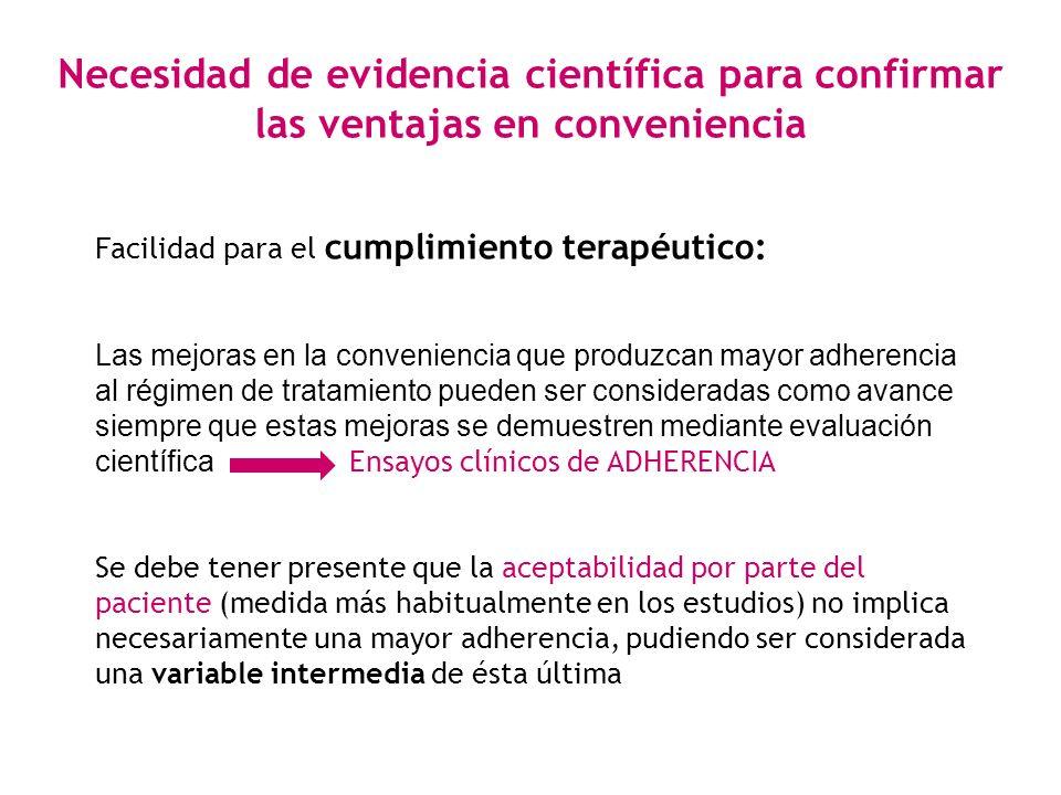 Necesidad de evidencia científica para confirmar las ventajas en conveniencia Facilidad para el cumplimiento terapéutico: Las mejoras en la convenienc