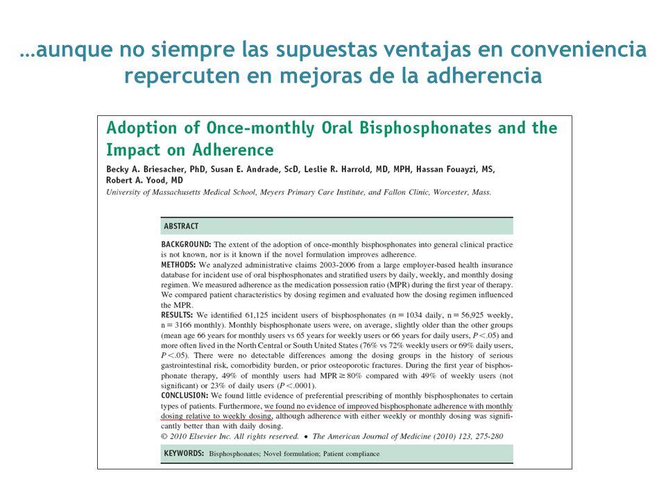 …aunque no siempre las supuestas ventajas en conveniencia repercuten en mejoras de la adherencia