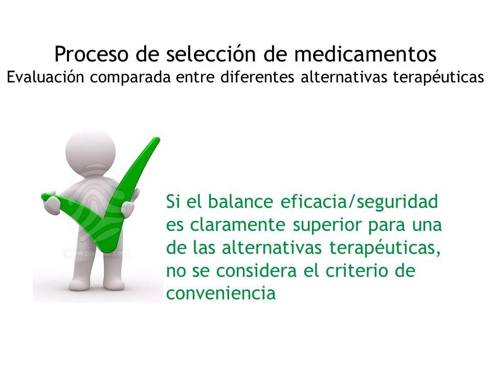 Proceso de selección de medicamentos Evaluación comparada entre diferentes alternativas terapéuticas Si el balance eficacia/seguridad es claramente su