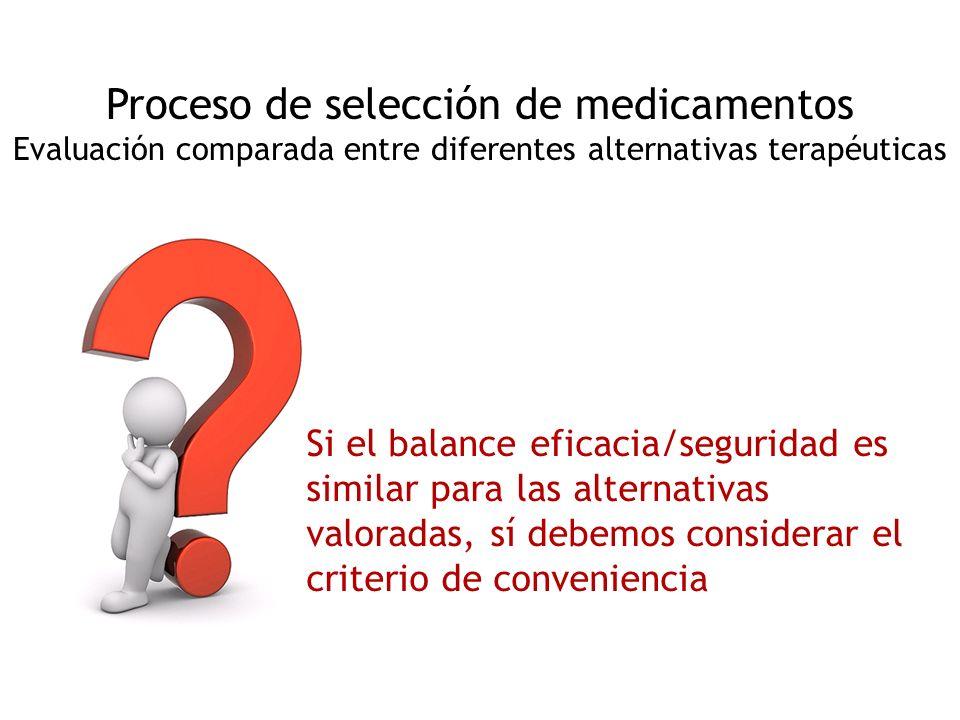 Proceso de selección de medicamentos Evaluación comparada entre diferentes alternativas terapéuticas Si el balance eficacia/seguridad es similar para