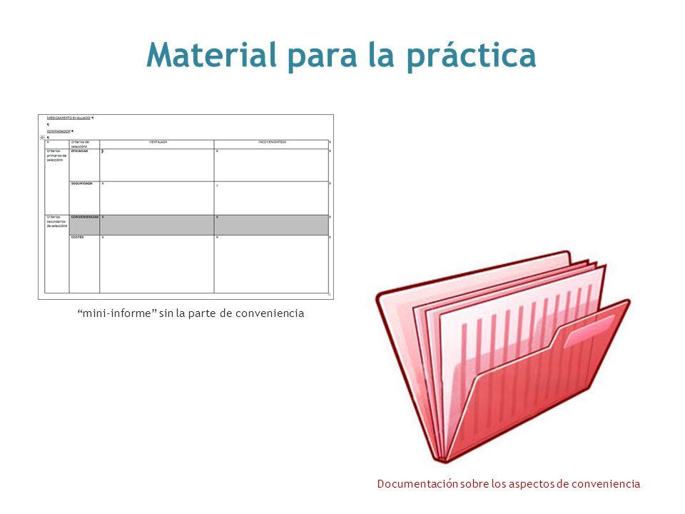 mini-informe sin la parte de conveniencia Documentación sobre los aspectos de conveniencia Material para la práctica