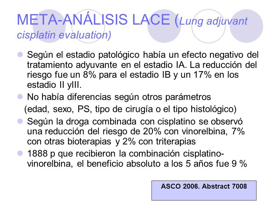 META-ANÁLISIS LACE ( Lung adjuvant cisplatin evaluation) Según el estadio patológico había un efecto negativo del tratamiento adyuvante en el estadio IA.
