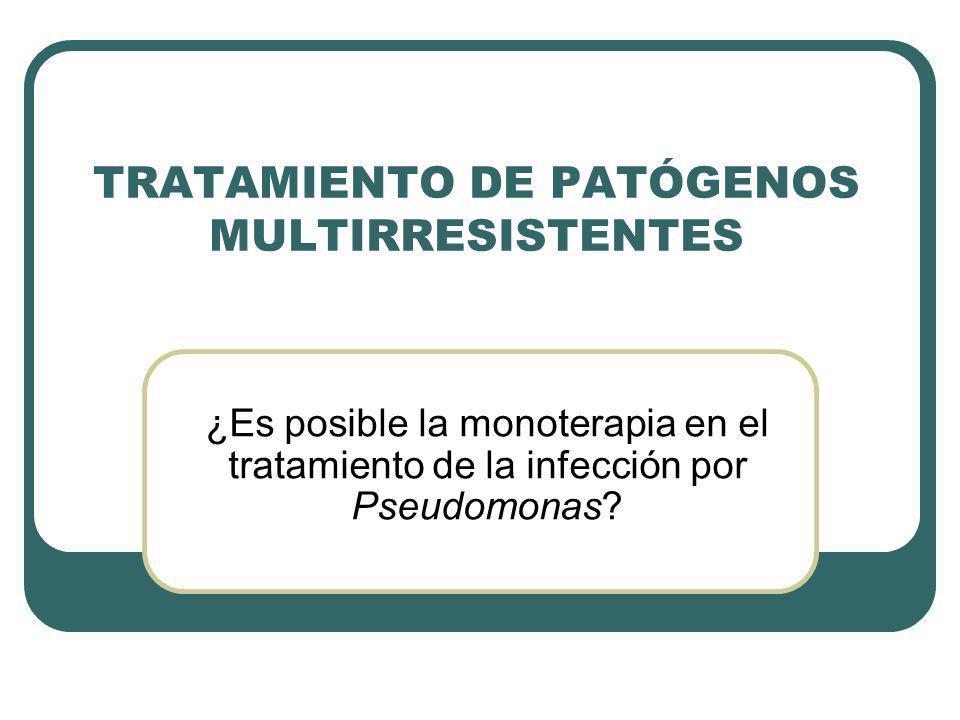 Monoterapia con nuevos antibióticos en infecciones por Pseudomonas aeruginosa TIGECICLINA: Nueva familia: glicilciclinas Actividad in vitro frente a gram-positivos, gram-negativos y anaerobios Actividad frente a patógenos multirresistentes (A.