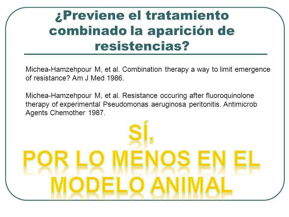 ¿Previene el tratamiento combinado la aparición de resistencias? Michea-Hamzehpour M, et al. Combination therapy a way to limit emergence of resistanc