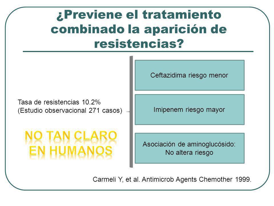 ¿Previene el tratamiento combinado la aparición de resistencias? Tasa de resistencias 10.2% (Estudio observacional 271 casos) Ceftazidima riesgo menor