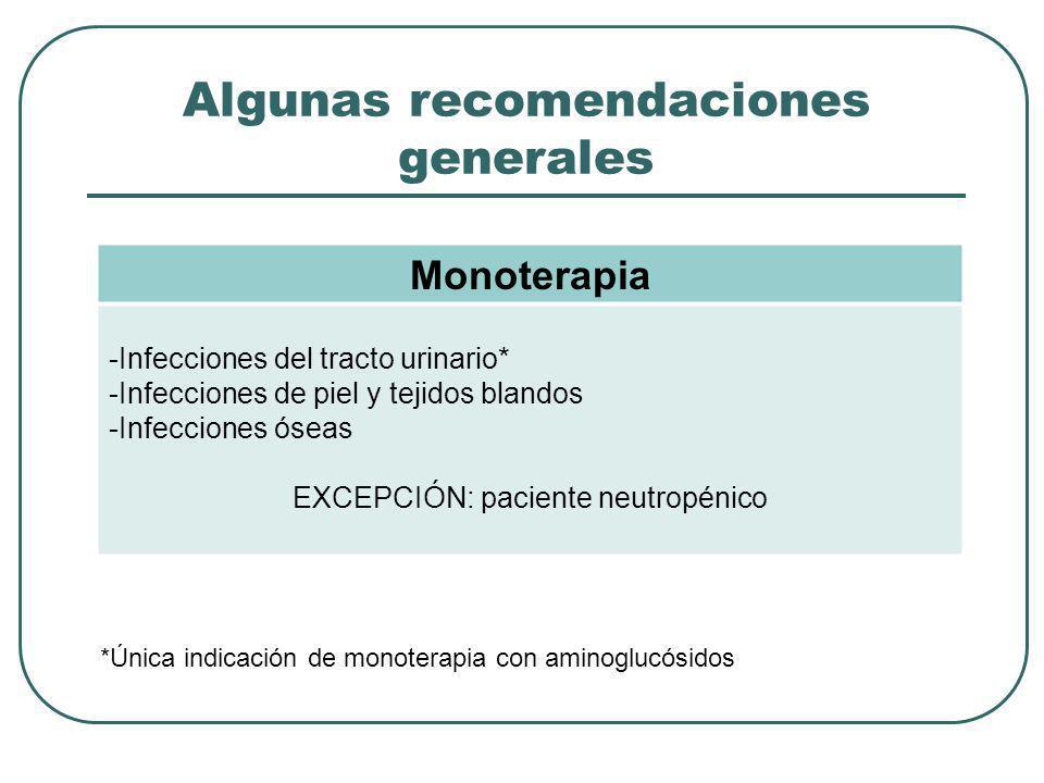 Algunas recomendaciones generales Monoterapia -Infecciones del tracto urinario* -Infecciones de piel y tejidos blandos -Infecciones óseas EXCEPCIÓN: p