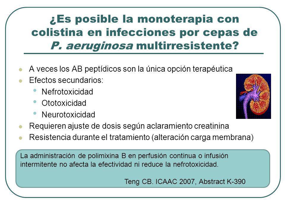 ¿Es posible la monoterapia con colistina en infecciones por cepas de P. aeruginosa multirresistente? A veces los AB peptídicos son la única opción ter