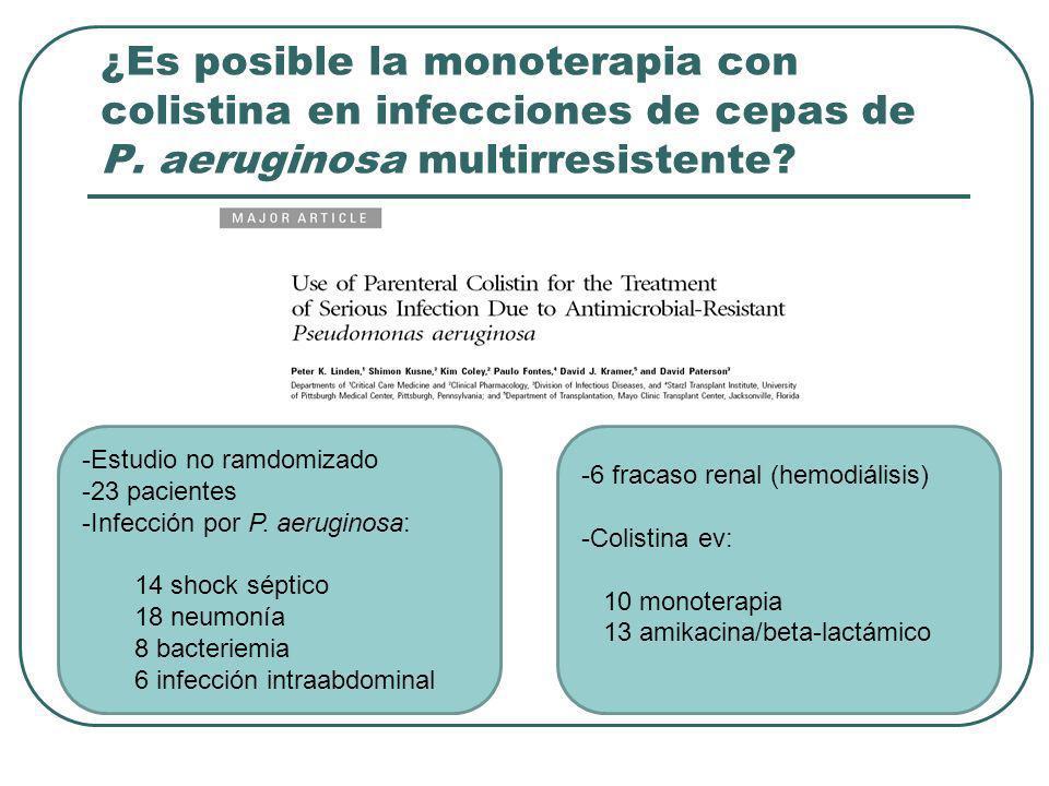 ¿Es posible la monoterapia con colistina en infecciones de cepas de P. aeruginosa multirresistente? -Estudio no ramdomizado -23 pacientes -Infección p