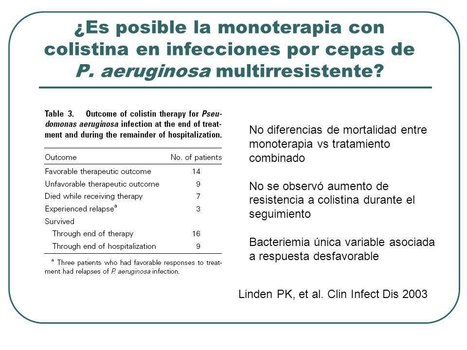¿Es posible la monoterapia con colistina en infecciones por cepas de P. aeruginosa multirresistente? Linden PK, et al. Clin Infect Dis 2003 No diferen