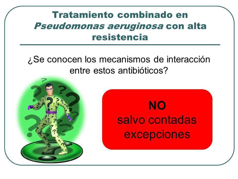 Tratamiento combinado en Pseudomonas aeruginosa con alta resistencia ¿Se conocen los mecanismos de interacción entre estos antibióticos? NO salvo cont