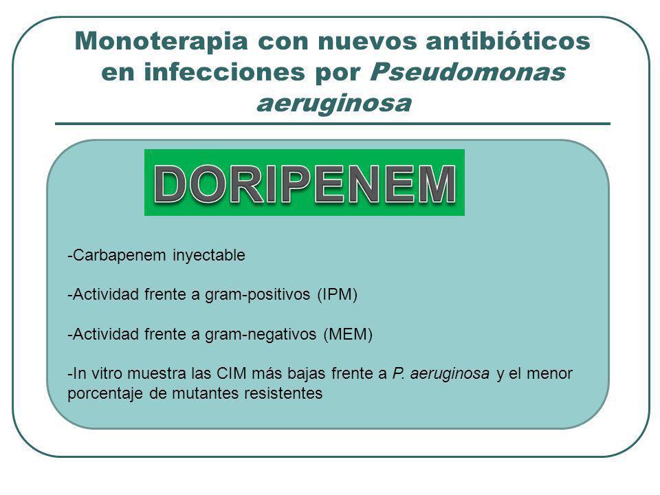 Monoterapia con nuevos antibióticos en infecciones por Pseudomonas aeruginosa -Carbapenem inyectable -Actividad frente a gram-positivos (IPM) -Activid