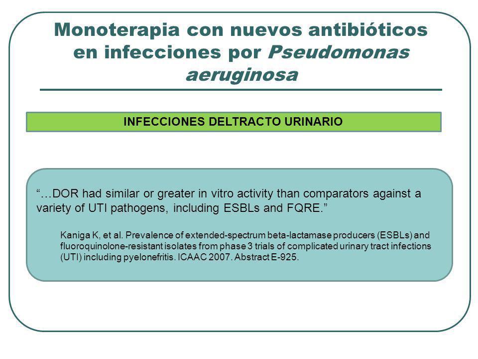 Monoterapia con nuevos antibióticos en infecciones por Pseudomonas aeruginosa …DOR had similar or greater in vitro activity than comparators against a
