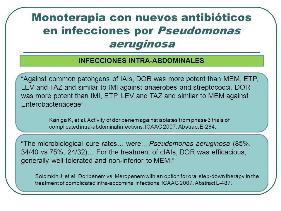 Monoterapia con nuevos antibióticos en infecciones por Pseudomonas aeruginosa Against common patohgens of IAIs, DOR was more potent than MEM, ETP, LEV