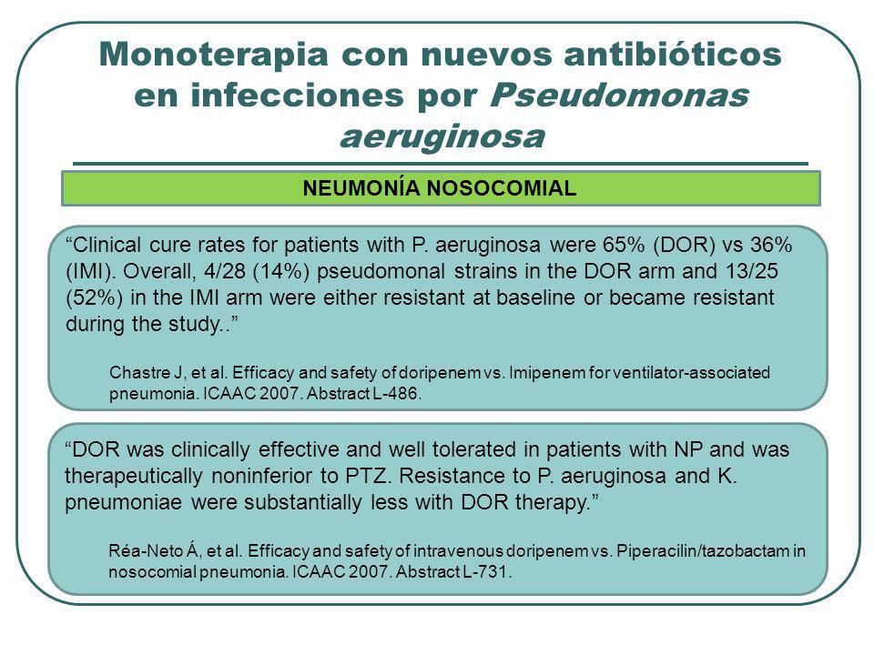 Monoterapia con nuevos antibióticos en infecciones por Pseudomonas aeruginosa Clinical cure rates for patients with P. aeruginosa were 65% (DOR) vs 36