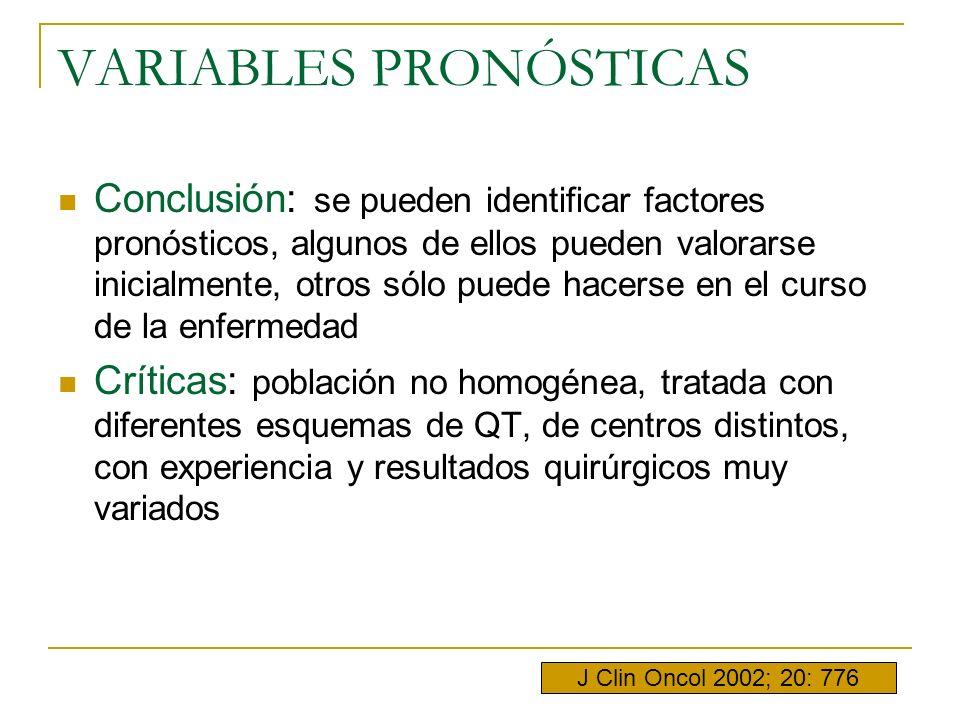 VARIABLES PRONÓSTICAS Conclusión: se pueden identificar factores pronósticos, algunos de ellos pueden valorarse inicialmente, otros sólo puede hacerse