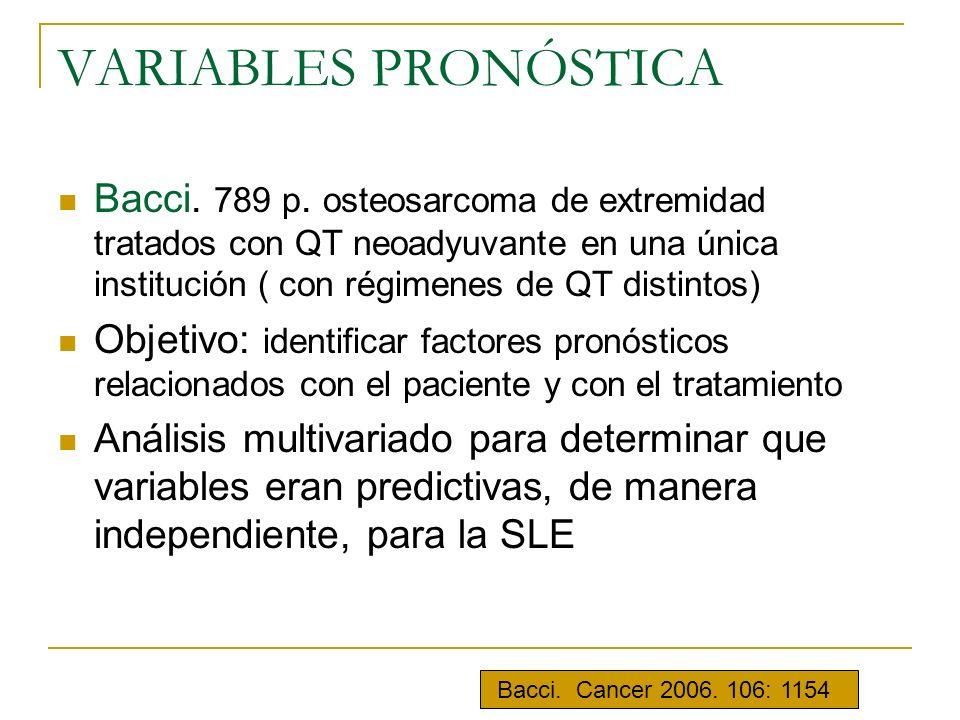 VARIABLES PRONÓSTICA Bacci. 789 p. osteosarcoma de extremidad tratados con QT neoadyuvante en una única institución ( con régimenes de QT distintos) O