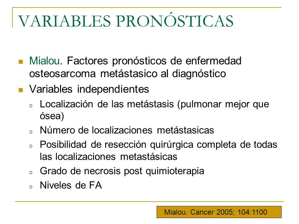 VARIABLES PRONÓSTICAS Mialou. Factores pronósticos de enfermedad osteosarcoma metástasico al diagnóstico Variables independientes o Localización de la