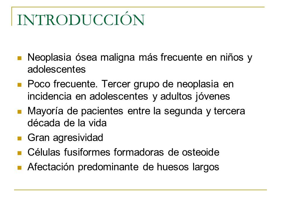 INTRODUCCIÓN Neoplasia ósea maligna más frecuente en niños y adolescentes Poco frecuente. Tercer grupo de neoplasia en incidencia en adolescentes y ad