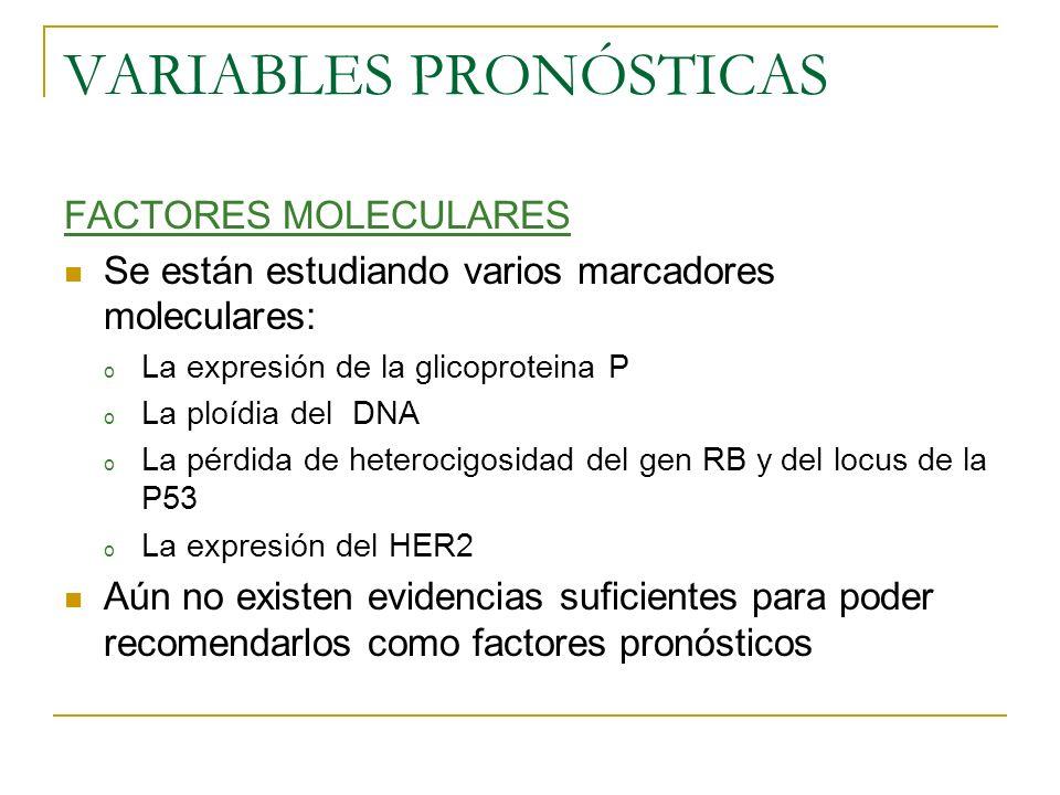 VARIABLES PRONÓSTICAS FACTORES MOLECULARES Se están estudiando varios marcadores moleculares: o La expresión de la glicoproteina P o La ploídia del DN