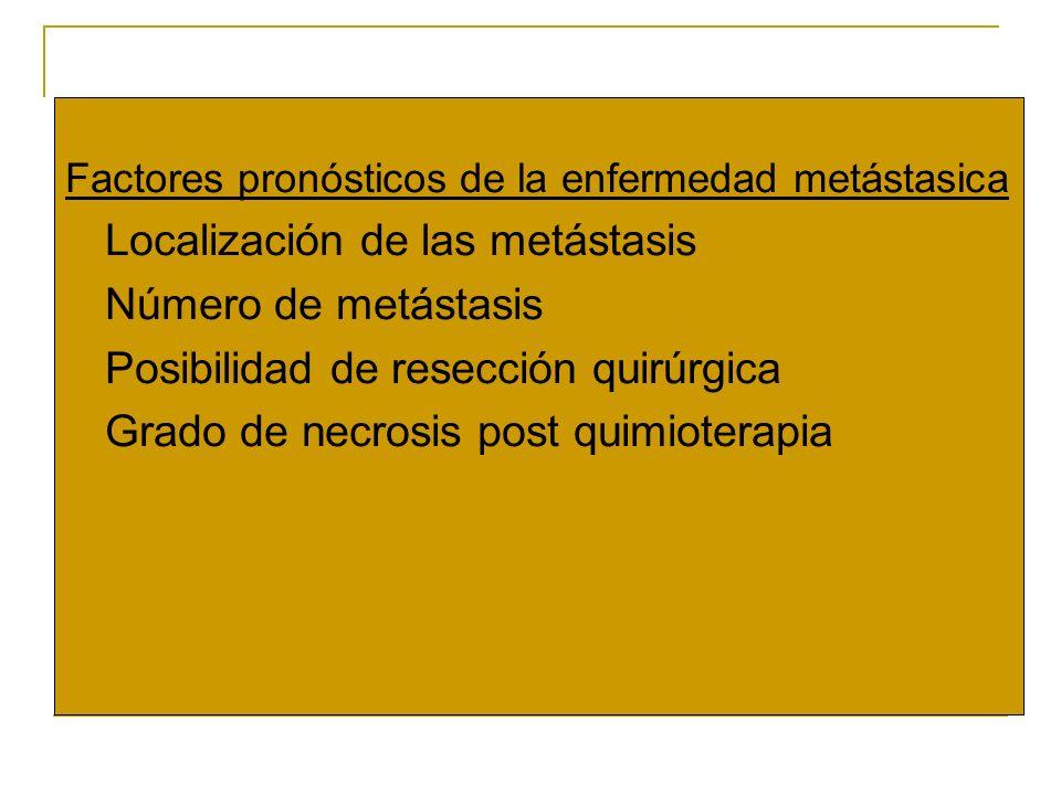 Factores pronósticos de la enfermedad metástasica o Localización de las metástasis o Número de metástasis o Posibilidad de resección quirúrgica o Grad