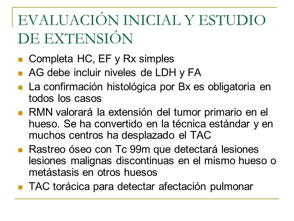 EVALUACIÓN INICIAL Y ESTUDIO DE EXTENSIÓN Completa HC, EF y Rx simples AG debe incluir niveles de LDH y FA La confirmación histológica por Bx es oblig