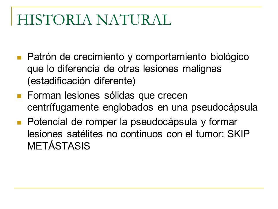 HISTORIA NATURAL Patrón de crecimiento y comportamiento biológico que lo diferencia de otras lesiones malignas (estadificación diferente) Forman lesio