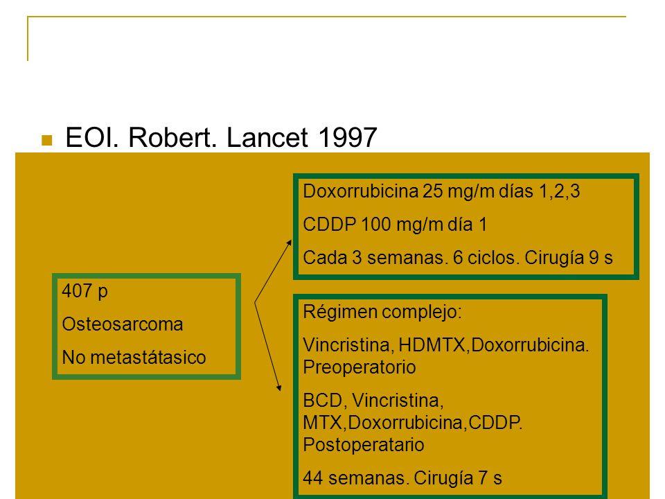 EOI. Robert. Lancet 1997 407 p Osteosarcoma No metastátasico Doxorrubicina 25 mg/m días 1,2,3 CDDP 100 mg/m día 1 Cada 3 semanas. 6 ciclos. Cirugía 9