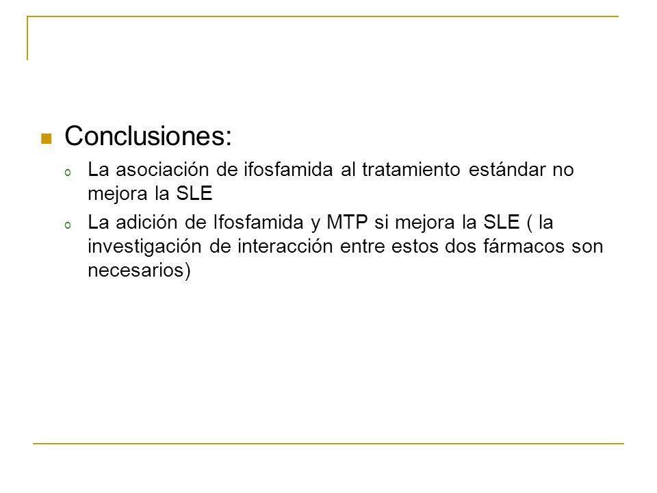 Conclusiones: o La asociación de ifosfamida al tratamiento estándar no mejora la SLE o La adición de Ifosfamida y MTP si mejora la SLE ( la investigac
