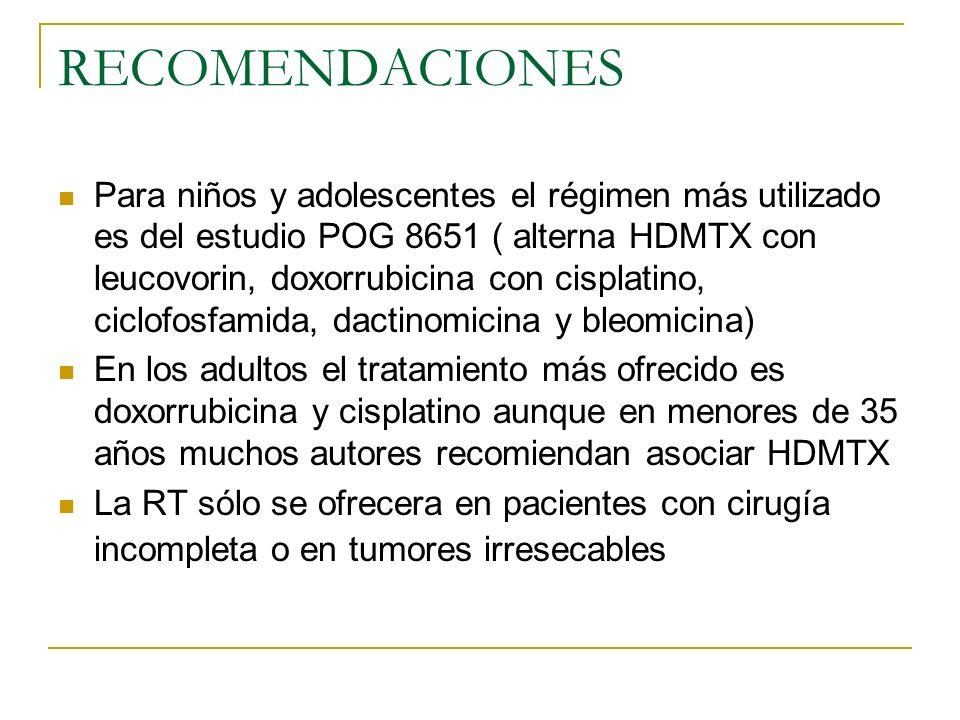 RECOMENDACIONES Para niños y adolescentes el régimen más utilizado es del estudio POG 8651 ( alterna HDMTX con leucovorin, doxorrubicina con cisplatin