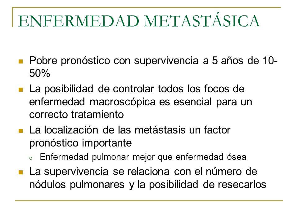 ENFERMEDAD METASTÁSICA Pobre pronóstico con supervivencia a 5 años de 10- 50% La posibilidad de controlar todos los focos de enfermedad macroscópica e