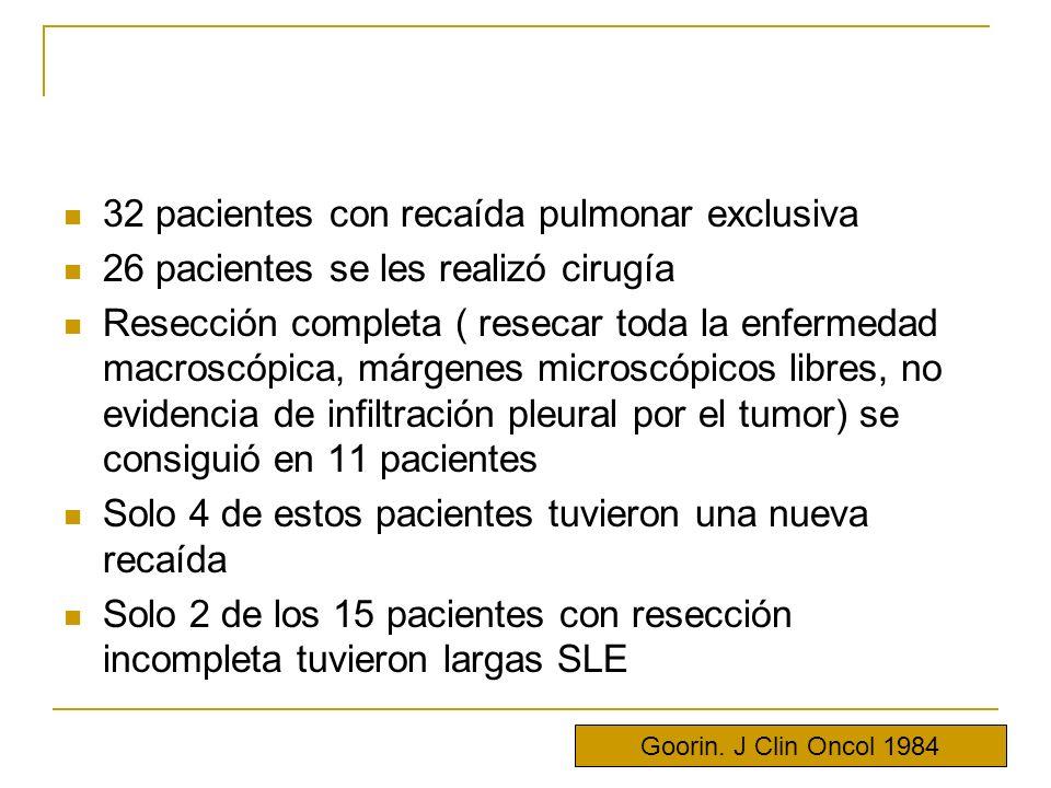 32 pacientes con recaída pulmonar exclusiva 26 pacientes se les realizó cirugía Resección completa ( resecar toda la enfermedad macroscópica, márgenes