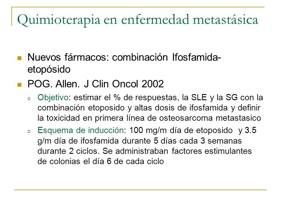 Quimioterapia en enfermedad metastásica Nuevos fármacos: combinación Ifosfamida- etopósido POG. Allen. J Clin Oncol 2002 o Objetivo: estimar el % de r