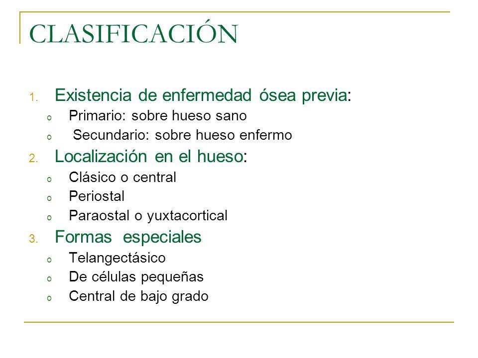 CLASIFICACIÓN 1. Existencia de enfermedad ósea previa: o Primario: sobre hueso sano o Secundario: sobre hueso enfermo 2. Localización en el hueso: o C