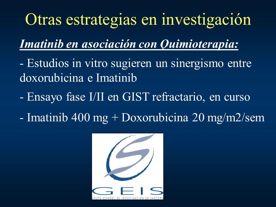 Otras estrategias en investigación Imatinib en asociación con Quimioterapia: - Estudios in vitro sugieren un sinergismo entre doxorubicina e Imatinib
