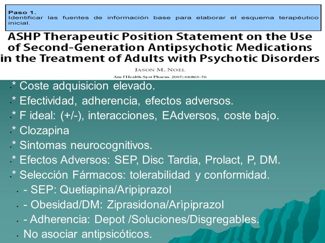 * Coste adquisicion elevado. * Efectividad, adherencia, efectos adversos. * F ideal: (+/-), interacciones, EAdversos, coste bajo. * Clozapina * Sintom