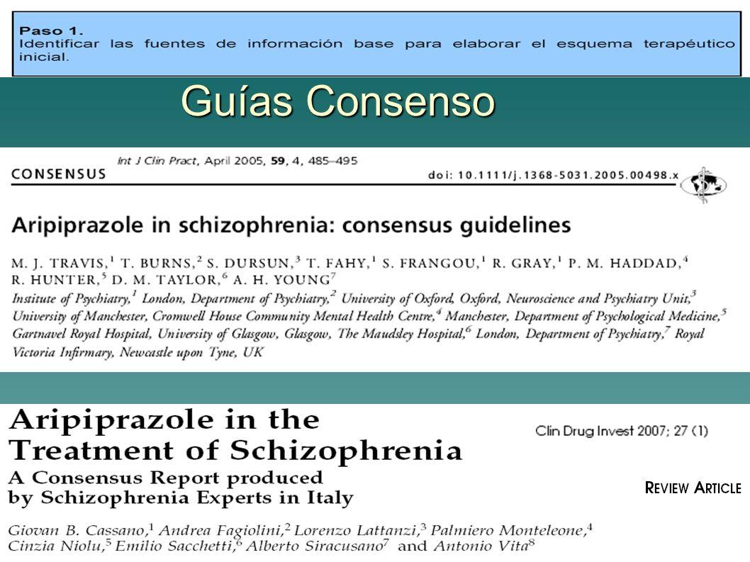 Beneficio/Riesgo Variabilidad efectos adversos (CATIE) Aripiprazol: 1ª linea / cambios de tto.