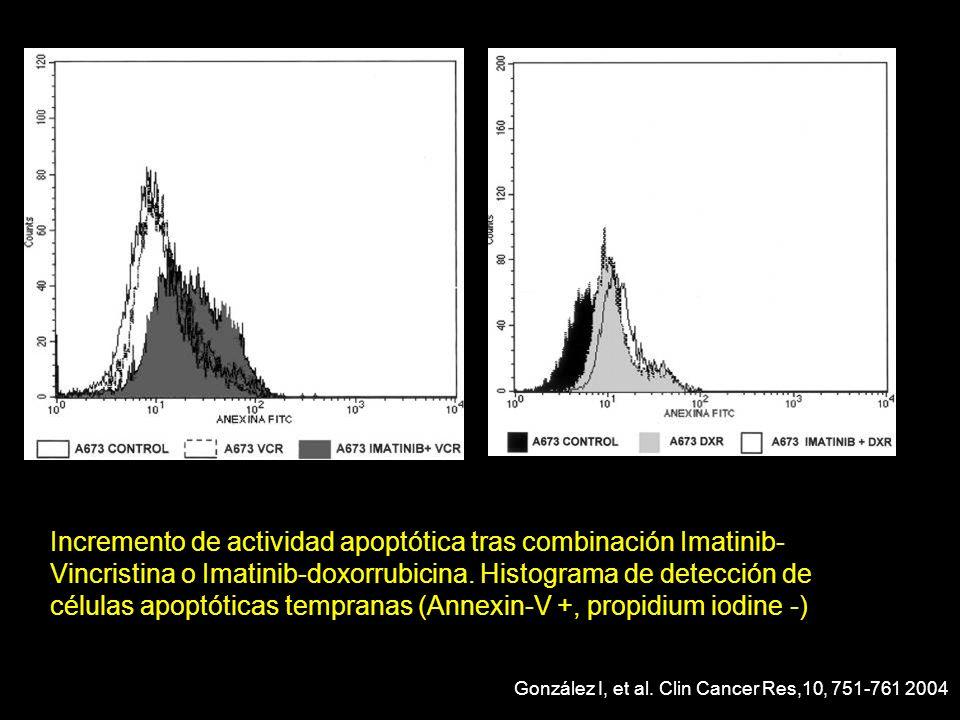 Incremento de actividad apoptótica tras combinación Imatinib- Vincristina o Imatinib-doxorrubicina. Histograma de detección de células apoptóticas tem