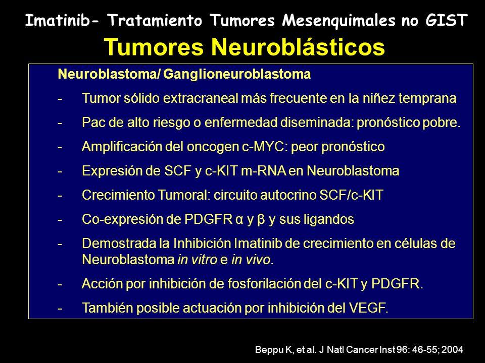Imatinib- Tratamiento Tumores Mesenquimales no GIST Tumores Neuroblásticos Neuroblastoma/ Ganglioneuroblastoma -Tumor sólido extracraneal más frecuent