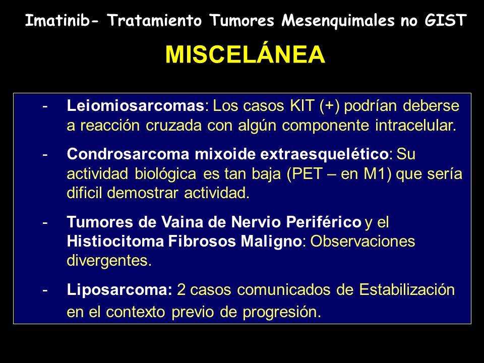 Imatinib- Tratamiento Tumores Mesenquimales no GIST MISCELÁNEA -Leiomiosarcomas: Los casos KIT (+) podrían deberse a reacción cruzada con algún compon