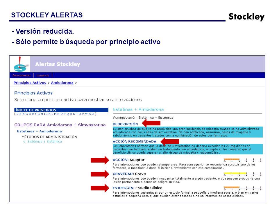STOCKLEY ALERTAS - Versión reducida. - Sólo permite búsqueda por principio activo
